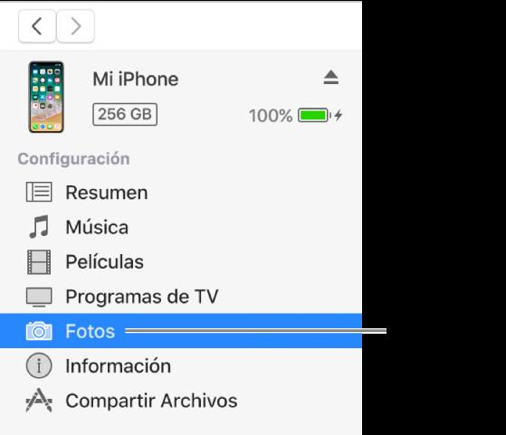 La ventana Dispositivo con la opción Fotos seleccionada en la barra lateral de la izquierda.