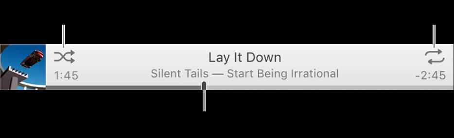 La tira con una canción en reproducción. El botón Aleatorio está en la esquina superior izquierda y el botón Repetir está en la esquina superior derecha. Mueve la barra de arrastre para ir a una parte diferente de la canción.