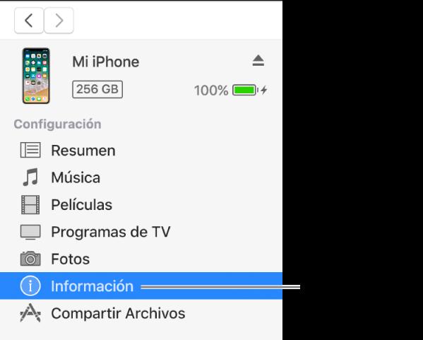 La ventana Dispositivo con la opción Información seleccionada en la barra lateral de la izquierda.