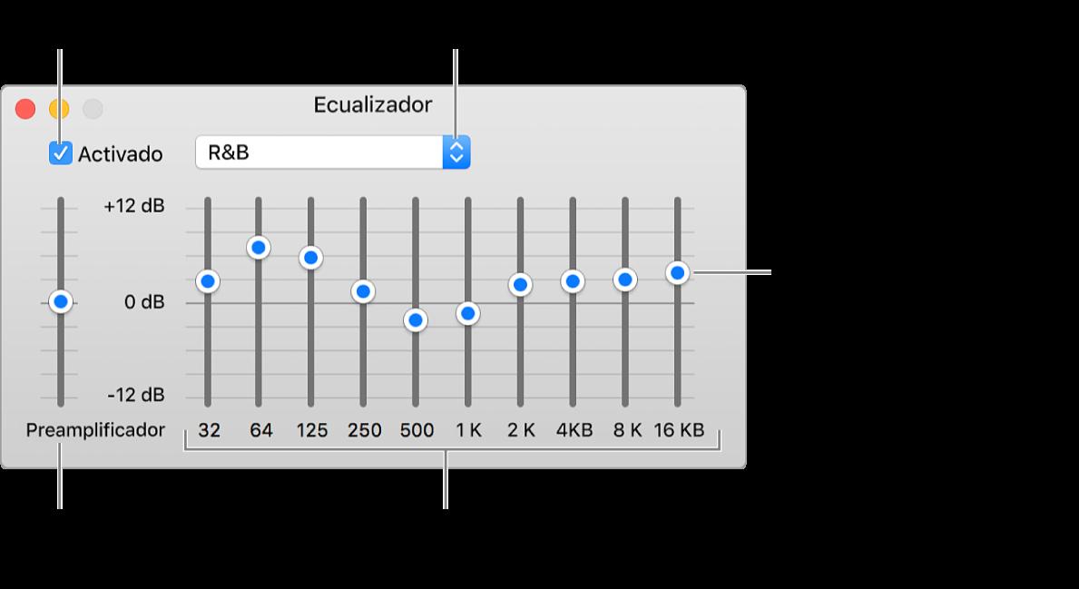 La ventana Ecualizador: la casilla para activar el ecualizador de iTunes está en la esquina superior izquierda. A un lado está el menú desplegable con las preconfiguraciones de ecualización. En el extremo derecho, ajusta el volumen general de las frecuencias con el preamplificador. Debajo de las preconfiguraciones, puedes ajustar el nivel del sonido de los distintos rangos de frecuencia que representan el espectro de la escucha humana desde lo más bajo hasta lo más alto.
