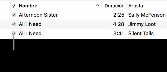 Detalle de la visualización Canciones en Música, con las casillas de selección en la izquierda. Anula la selección junto a una canción para evitar que se reproduzca.