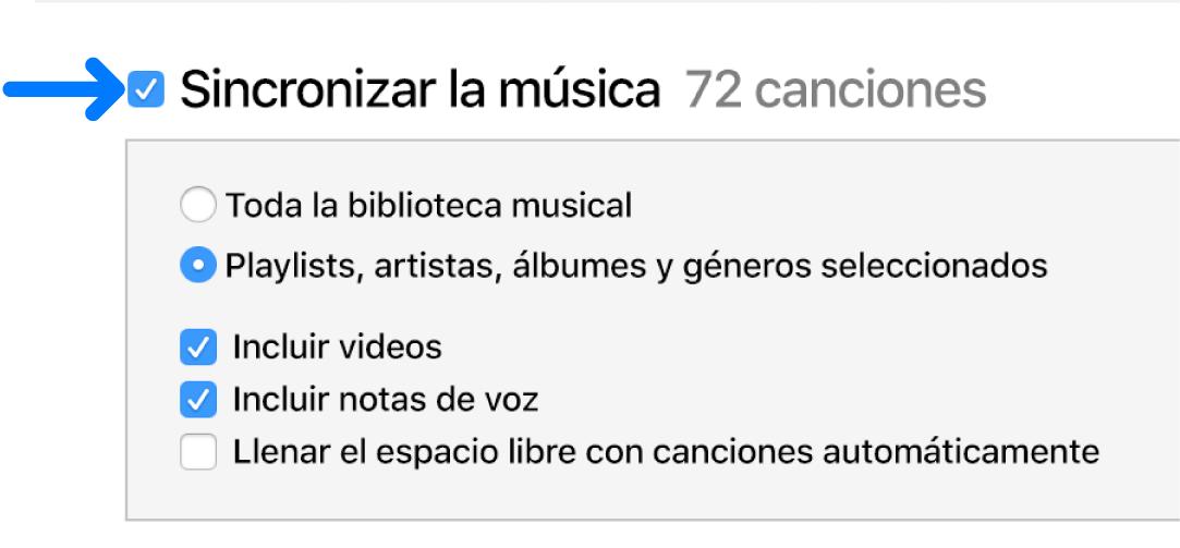 """La opción """"Sincronizar música"""" ubicada en la esquina superior izquierda está seleccionada con opciones para sincronizar la biblioteca entera o sólo los elementos sincronizados."""