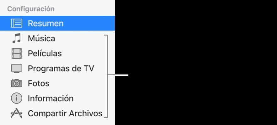 La opción Resumen está seleccionada en la barra lateral de la izquierda. Los tipos de contenido que aparecen pueden variar dependiendo de tu dispositivo y del contenido de tu biblioteca de iTunes.