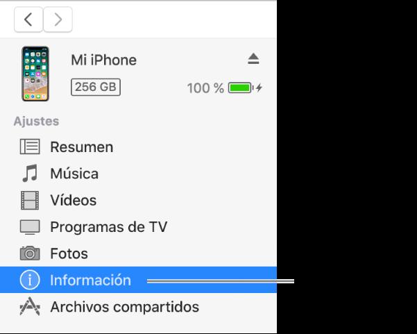 La ventana del dispositivo con la opción Información seleccionada en la barra lateral de la izquierda.
