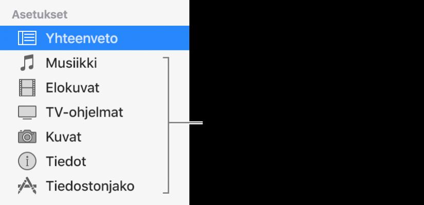 Yhteenveto on valittuna vasemmalla olevassa sivupalkissa. Käyttämäsi laite ja iTunes-kirjastosi sisältö voivat vaikuttaa näkyvään sisältötyyppiin.