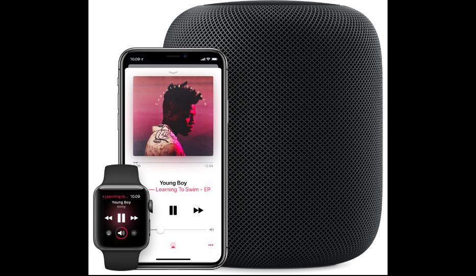 Näkymä AppleMusicin AppleWatchissa, iPhonessa ja HomePodissa toistettavasta kappaleesta.