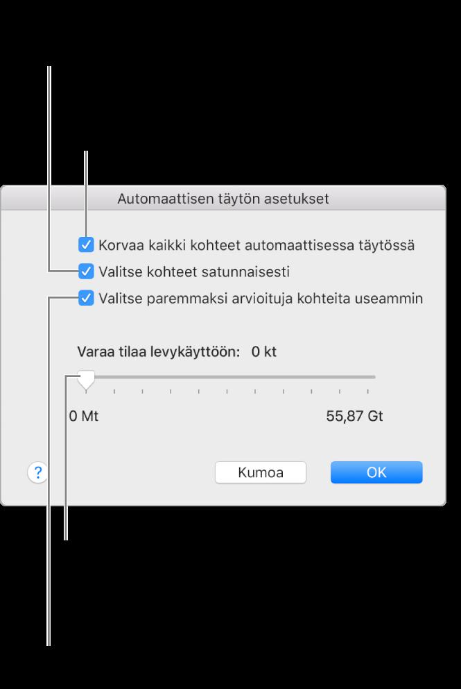 """Automaattisen täytön asetukset -valintaikkuna, jossa näkyy neljä vaihtoehtoa ylhäältä alas. Jos sinulla on laitteessasi musiikkia ja haluat käyttää Automaattista täyttöä jäljellä olevan tilan täyttämiseen, poista valinta kohdasta """"Korvaa kaikki kohteet automaattisessa täytössä"""". Jos haluat lisätä kappaleita kirjastosi tai valitun soittolistan mukaisessa järjestyksessä, poista valinta kohdasta """"Valitse kohteet satunnaisesti"""". Seuraava vaihtoehto """"Valitse paremmaksi arvioituja kohteita useammin"""" on käytettävissä vain jos """"Valitse kohteet satunnaisesti"""" -kohta on valittuna. Jos haluat jättää tilaa kovalevykäyttöä varten, määritä levytila liukusäätimellä."""