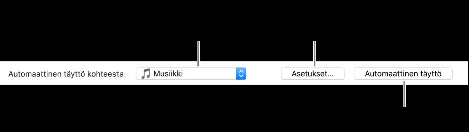 Automaattisen täytön asetukset Musiikki-osion alaosassa. Vasemmassa laidassa on Automaattinen täyttö kohteesta -ponnahdusvalikko, josta voit valita, haluatko lisätä kappaleita soittolistasta vai koko kirjastosta. Oikeassa laidassa on kaksi painiketta: Asetukset Automaattisen täytön asetusten muuttamiseen ja Automaattinen täyttö. Kun klikkaat Automaattinen täyttö, laite täytetään kriteereihin sopivilla kappaleilla.