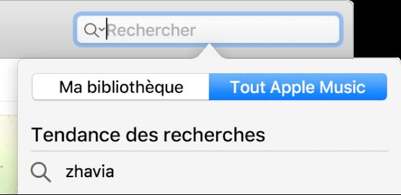 Le champ de recherche AppleMusic.