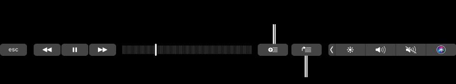 Commandes de la TouchBar pour la musique, avec des boutons pour ajouter les morceaux sélectionnés à une playlist et à la liste d'attente.