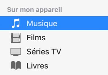 Section Sur mon appareil de la barre latérale affichant l'option Musique sélectionnée.