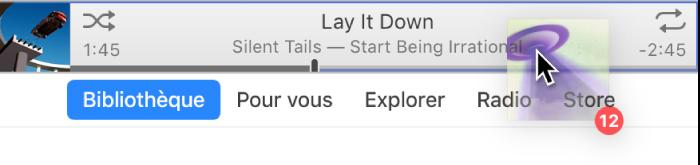 Album déplacé vers le haut de la fenêtre iTunes.