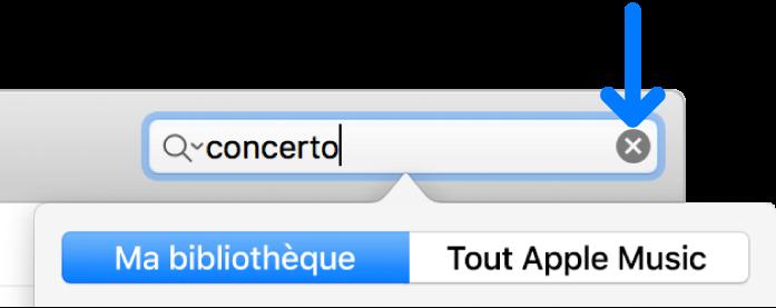 Le champ de recherche avec du texte saisi; le bouton Supprimer se trouve sur le côté droit du champ.