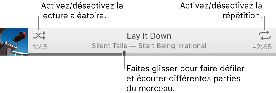 La bannière avec un morceau en cours de lecture. Le bouton Ordre aléatoire se trouve dans le coin supérieur gauche, le bouton Répétition dans le coin supérieur droit. Faites glisser le curseur dans la barre de progression pour accéder à une autre partie du morceau.