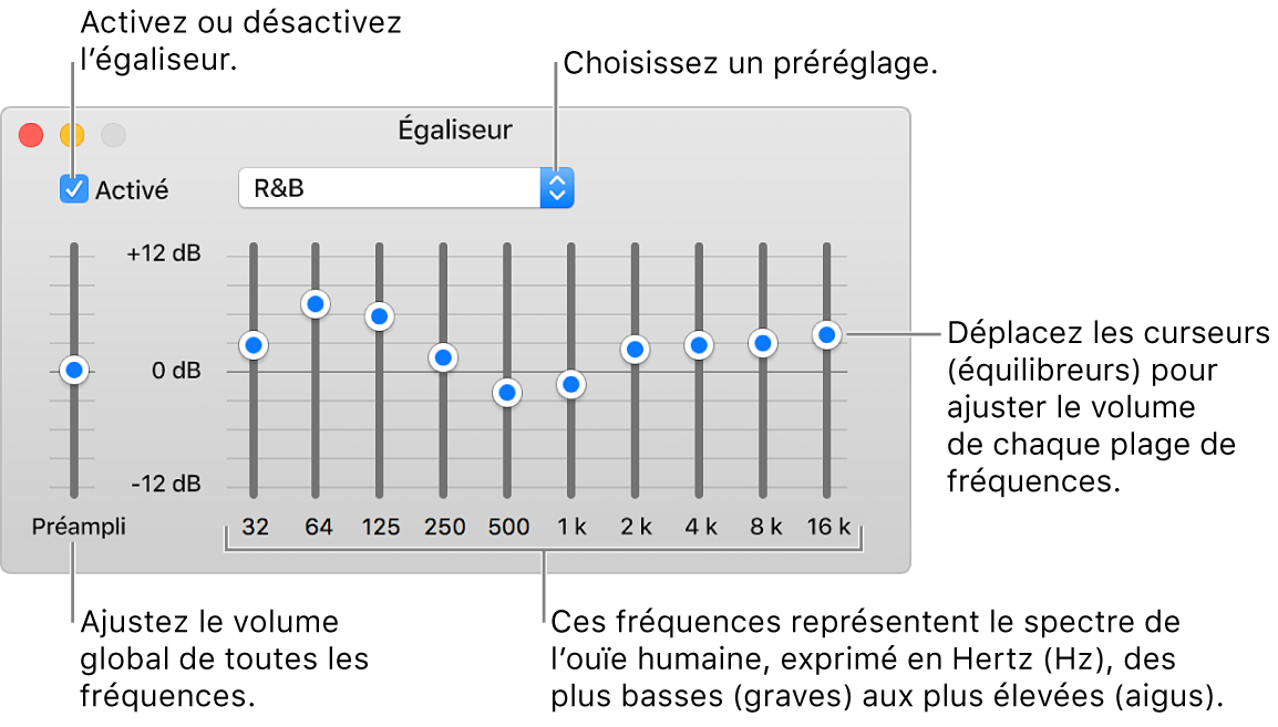 La fenêtre Égaliseur: La case pour activer l'égaliseur iTunes se trouve dans le coin supérieur gauche. Le menu local avec les préréglages de l'égaliseur est situé à côté. À l'extrémité gauche, réglez le volume global des fréquences avec le préampli. Sous les préréglages de l'égaliseur, réglez le niveau sonore des différentes plages de fréquences qui représentent le spectre auditif humain, des plus basses aux plus élevées.