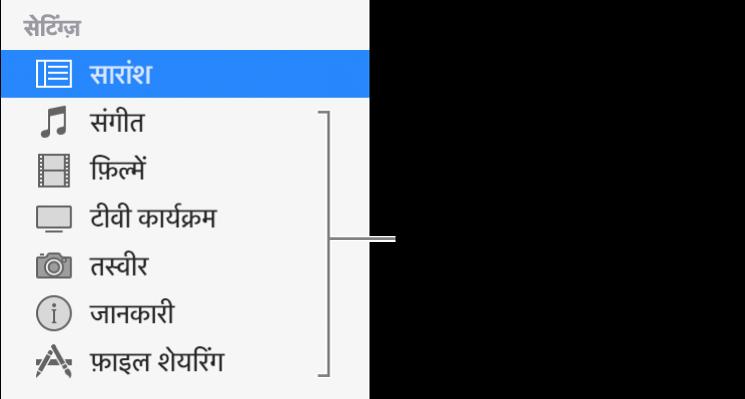 बाईं ओर साइडबार में समरी चुना जाता है। आपके डिवाइस और आपकी iTunes लाइब्रेरी के कॉन्टेंट के आधार पर दिखाई पड़ने वाले कॉन्टेंट के प्रकार भिन्न-भिन्न हो सकते हैं।