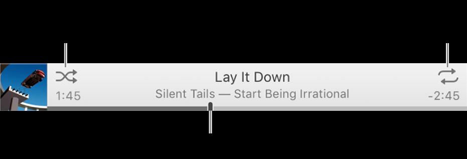 Baner s pjesmom koja se reproducira. Tipka Slučajni odabir nalazi se u gornjem lijevom kutu. Tipka Ponavljanje nalazi se u gornjem desnom kutu. Povucite kliznik reprodukcije za prijelaz na drugi dio pjesme.