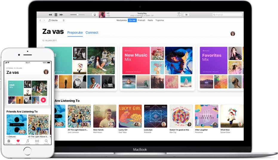 iPhone i MacBook s uslugom Apple Music Za vas.
