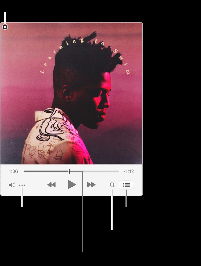"""Mini Player esteso, che mostra i controlli per il brano in riproduzione. Nell'angolo superiore sinistro è disponibile il pulsante Chiudi, che consente di passare alla finestra intera di iTunes. Nella parte inferiore della finestra è presente un cursore, che puoi trascinare per passare a un altro punto del brano. Sotto il cursore sul lato sinistro c'è il pulsante del menu Azione in cui puoi scegliere opzioni di visualizzazione e altre opzioni per il brano in riproduzione. All'estrema destra sotto il cursore sono disponibili due pulsanti, quello della lente di ingrandimento per eseguire ricerche nella libreria musicale e quello dell'elenco """"In coda"""" per vedere il brano successivo."""