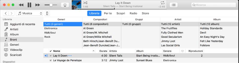Finestra principale di iTunes: il browser a colonne è disponibile a destra della barra laterale e sopra l'elenco di brani.