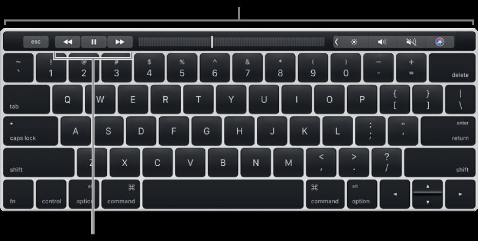 상단에 Touch Bar가 있는 키보드, Touch Bar의 가운데에 있는 재생 제어기.