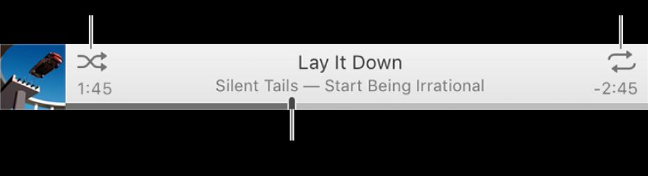노래가 재생 중인 배너. 왼쪽 상단에 임의 재생 버튼, 오른쪽 상단에 반복 버튼이 있습니다. 노래의 다른 부분으로 이동하려면 이동 막대를 드래그하십시오.
