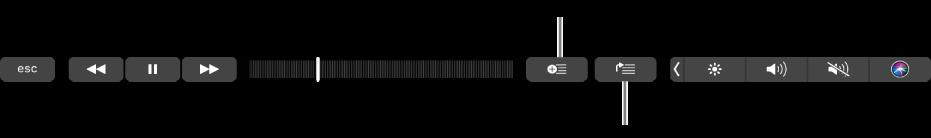 선택한 노래를 플레이리스트 및 재생 대기 목록에 추가하는 데 사용하는 버튼이 있는 음악용 Touch Bar 제어기.