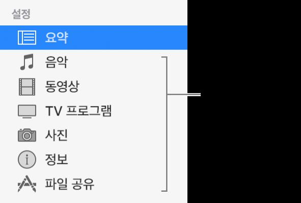 왼쪽에 있는 사이드바에서 요약이 선택되어 있습니다. 나타나는 콘텐츠 유형은 기기와 iTunes 보관함의 콘텐츠에 따라 다를 수 있습니다.