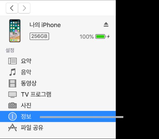왼쪽 사이드바에서 정보가 선택되어 있는 기기 윈도우.