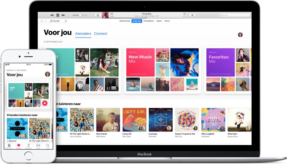 Een iPhone en MacBook met het Apple Music-scherm 'Voor jou'.