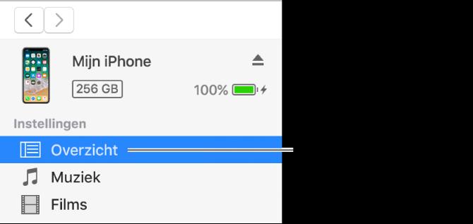 Het apparaatvenster met in de navigatiekolom aan de linkerkant 'Overzicht' geselecteerd.