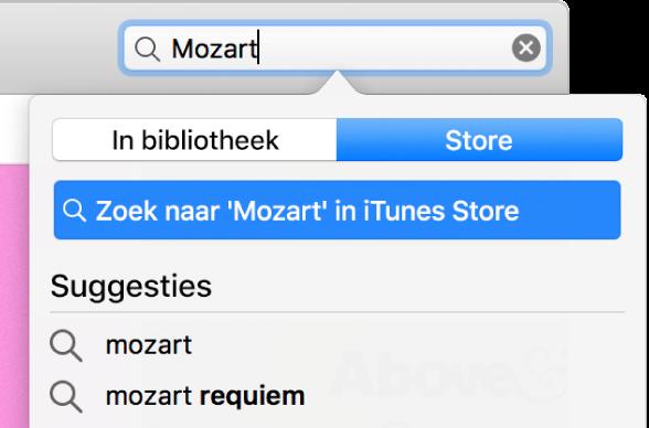 """Het zoekveld met de getypte tekst """"Mozart"""". 'Store' is geselecteerd in het locatiemenu."""