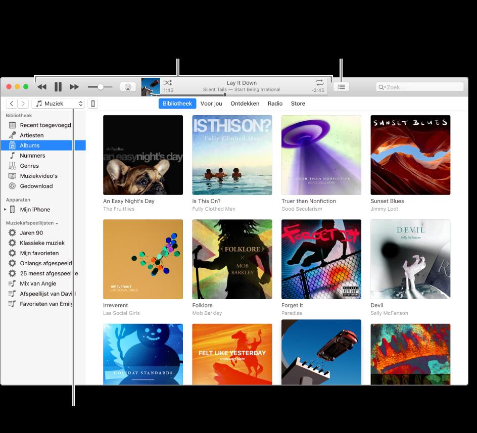 Het hoofdvenster van de iTunes-bibliotheek: In het navigatiepaneel kies je het type media dat je wilt afspelen (zoals muziek). Met de regelaars boven in het venster kun je het afspelen regelen. Gebruik het venstermenu 'Volgende' aan de rechterkant om de bibliotheek op verschillende manieren weer te geven.