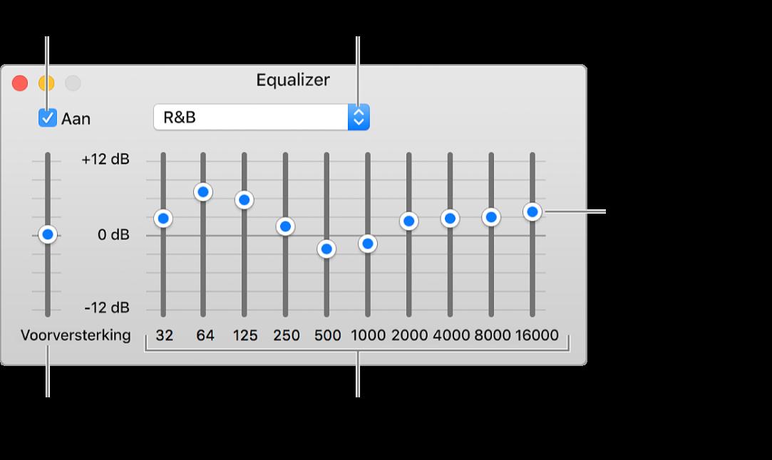Het venster 'Equalizer': Het aankruisvak waarmee je de iTunes-equalizer inschakelt, bevindt zich in de linkerbovenhoek. Ernaast zie je het venstermenu met de voorinstellingen van de equalizer. Helemaal links pas je het algemene volume van frequenties aan met de voorversterker. Onder de voorinstellingen van de equalizer pas je het geluidsniveau per frequentiebereik aan. Elk bereik vertegenwoordigt een bepaald gedeelte van het menselijk gehoor, van laag naar hoog.
