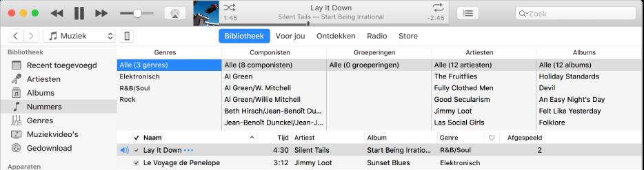 Het hoofdvenster van iTunes: De kolombrowser verschijnt aan de rechterkant van de navigatiekolom, boven de lijst met nummers.
