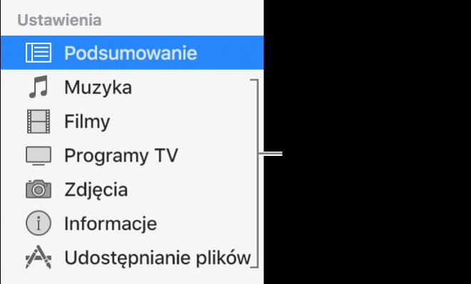 Na pasku bocznym po lewej zaznaczona jest pozycja Podsumowanie. Wyświetlane typy materiałów zależą od używanego urządzenia oraz zawartości biblioteki iTunes