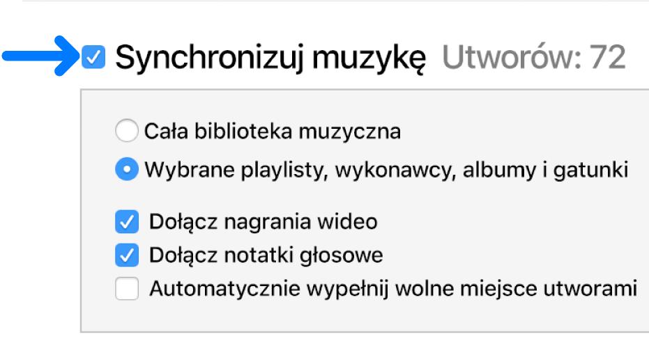 Wpobliżu lewego górnego rogu dostępna jest funkcja synchronizowania muzyki (całej biblioteki lub wybranych rzeczy)