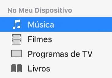 A seção No Meu Dispositivo da barra lateral mostrando o item Música selecionado.