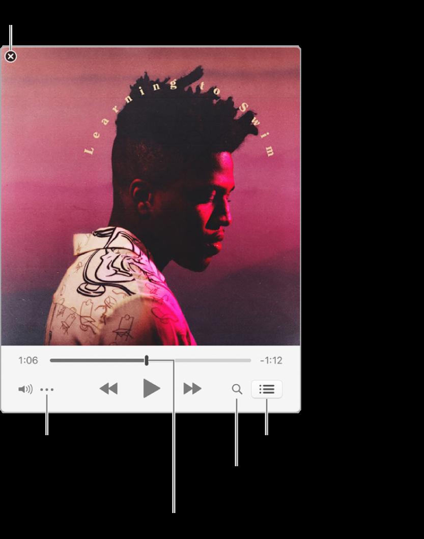 Minirreprodutor expandido exibindo os controles da música em reprodução. Na parte superior esquerda fica o botão fechar, usado para alternar para a janela completa do iTunes. Na parte inferior da janela há um controle que pode ser deslizado para ir para uma parte diferente da música. Abaixo do controle, no lado esquerdo, está o botão Menu de Ação, onde é possível escolher opções de visualização e outras opções da música sendo reproduzida. Na extremidade direita, abaixo do controle, há dois botões: a lupa, para buscar na biblioteca de música e a lista Seguintes, para ver o que será reproduzido a seguir.