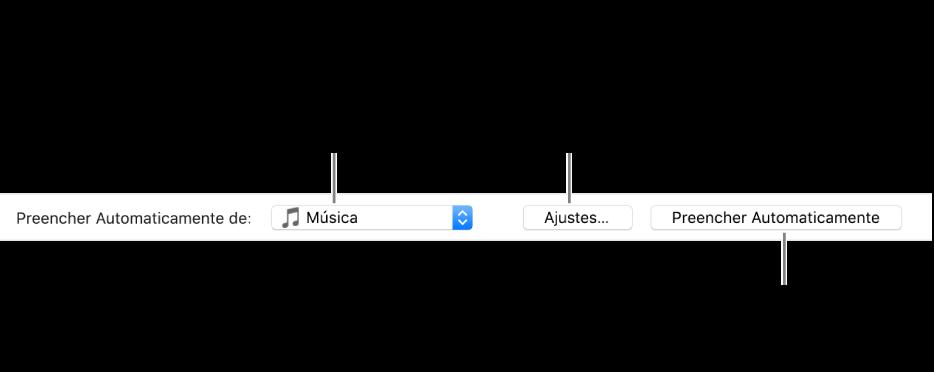 """As opções de Preenchimento Automático na parte inferior do painel de Músicas. Na extremidade esquerda encontra-se o menu local """"Preencher Automaticamente de"""", onde você pode optar por adicionar músicas de uma playlist ou de toda a biblioteca. Na extremidade direita, há dois botões: Ajustes, para alterar as opções de Preenchimento Automático, e Preencher Automaticamente. Ao clicar em Preencher Automaticamente, o dispositivo é preenchido com as músicas que correspondam ao critério."""