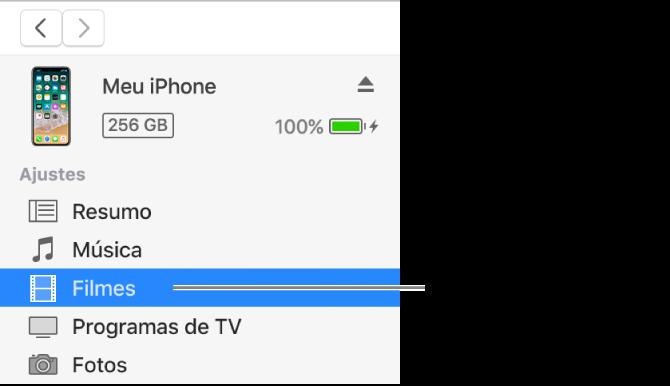Janela Dispositivo, com Filmes selecionado na barra lateral à esquerda.