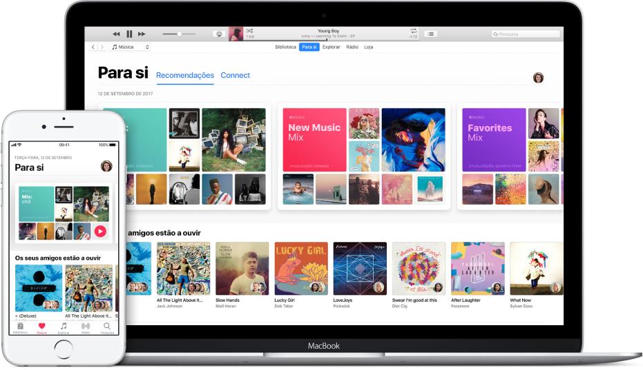 Um iPhone e um MacBook com Apple Music para si.