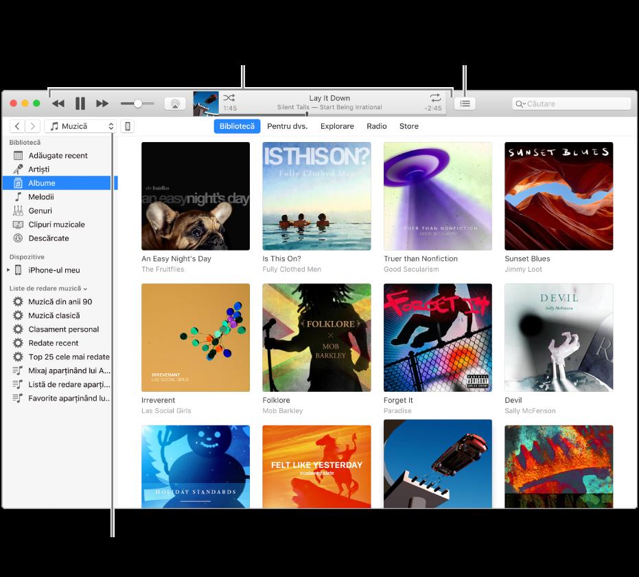 Fereastra principală bibliotecă iTunes: În navigator, selectați tipul de conținut multimedia care să fie redat (cum ar fi Muzică). Utilizați comenzile din bannerul de sus pentru a reda conținutul multimedia și utilizați meniul pop-up Urmează din dreapta pentru a vizualiza biblioteca în diferite moduri.