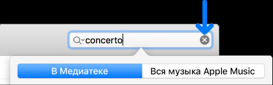 Поле поиска с введенным в нем текстом; кнопка «Удалить» с правой стороны поля.