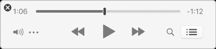 Den mindre iTunes-minispelaren där endast reglagen visas (och inte bildmaterialet till albumet).