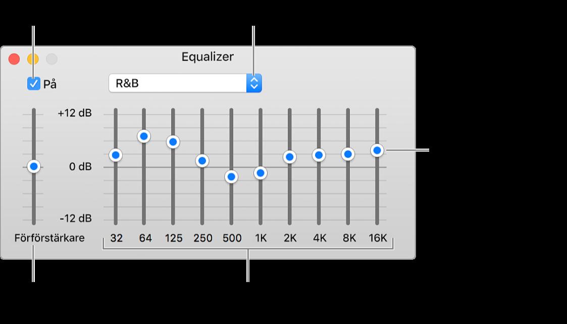 Equalizer-fönstret: I övre vänstra hörnet finns kryssrutan för att slå på iTunes-equalizern. Bredvid den finns popupmenyn med förinställningarna för equalizern. Längst till vänster kan den allmänna volymen för alla frekvenser justeras med förförstärkaren. Under förinställningarna för equalizern går det att justera volymen för olika frekvensintervall som representerar spektrumet för människans hörsel från lägsta till högsta.