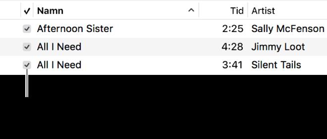 Detalj från låtvyn i musik som visar kryssrutorna till vänster. Hindra att en låt spelas upp genom att avmarkera kryssrutan bredvid låten.