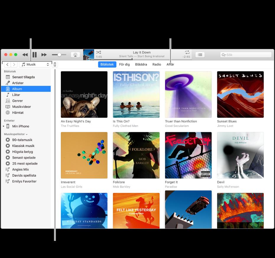 Vy över iTunes-fönstret: iTunes-fönstret har två paneler. Till vänster finns bibliotekssidofältet, som innehåller alla dina digitala medier. Till höger finns ett större innehållsområde. Där kan du visa en samling du är intresserad av – t.ex. besöka ditt bibliotek eller sidan Fördig, bläddra bland ny musik och video i iTunes, eller besöka iTunesStore och hämta ny musik, nya filmer, TV-program, ljudböcker med mera. Uppe till höger i bibliotekssidofältet finns enhetsknappen, som visar att din iPod, iPhone eller iPad är ansluten till datorn.