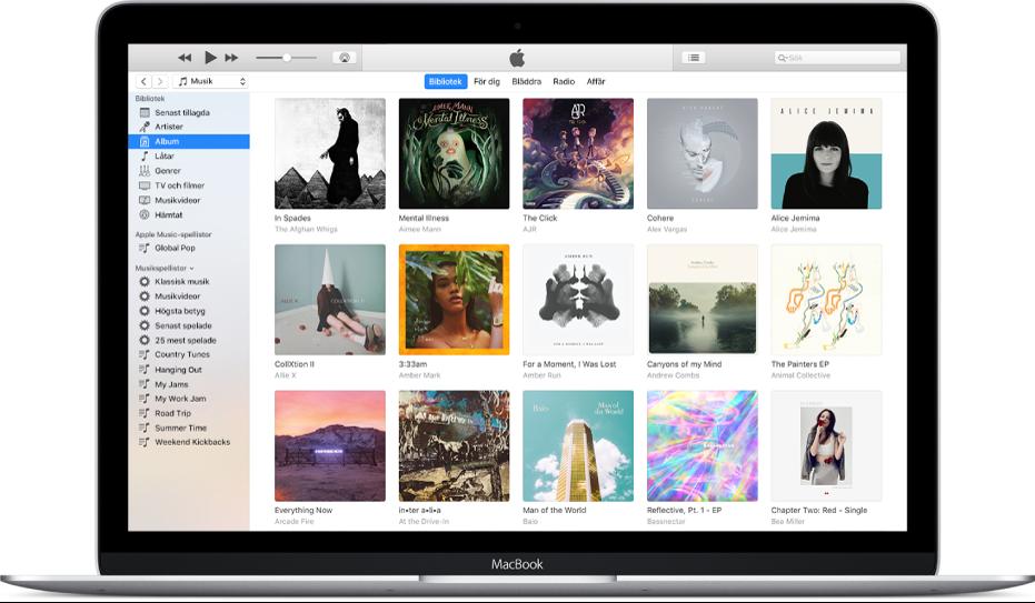 iTunes-fönstret med ett bibliotek som innehåller en mängd album.