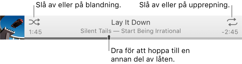 Banderollen med en låt som spelas. Längst upp till vänster finns blandningsknappen och längst upp till höger upprepningsknappen. Dra uppspelningssymbolen för att hoppa till en annan del av en låt.